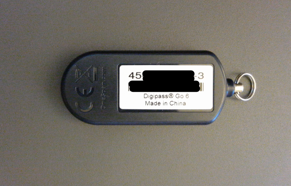 Duo key fob - back of device with the device number for registration