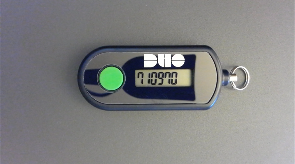 Duo Key Fob with code displayed