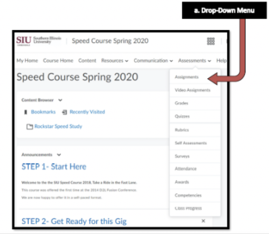 Course Drop Down Menu