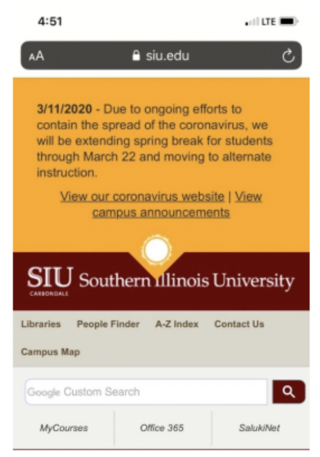 Mobile version of siu.edu