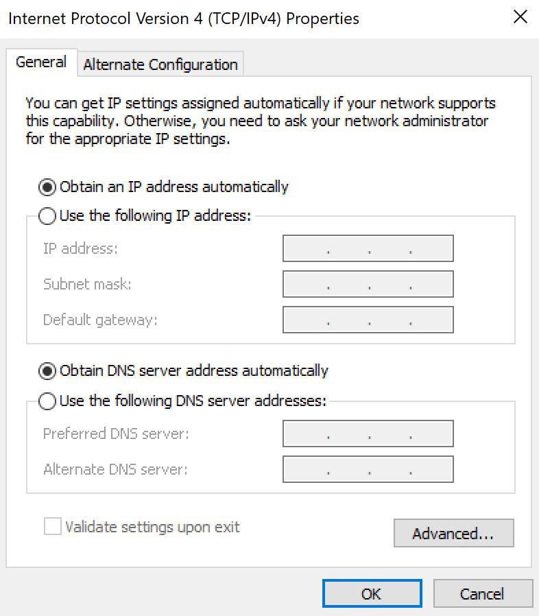 IPv4 settings.