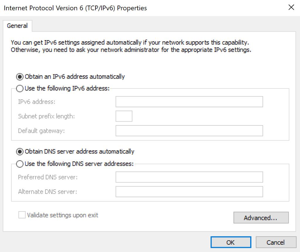 IPv6 settings.