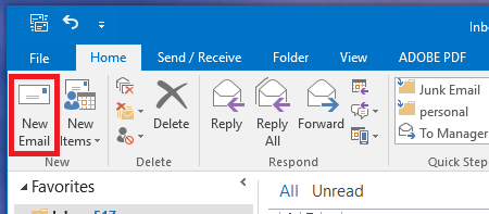 New E-mail in Outlook