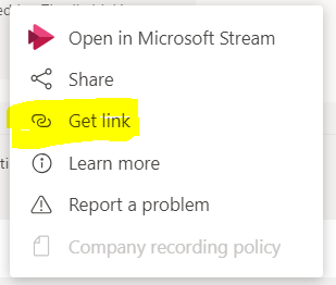 Microsoft Teams option list to get a link to a meeting recording
