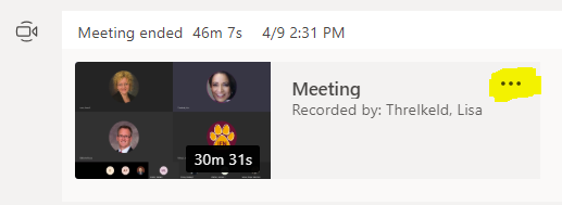 Access option list in Microsoft Teams to open recording in Microsoft Stream.