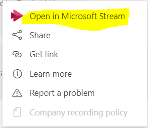 Option to open recording in Microsoft Stream from Microsoft Teams