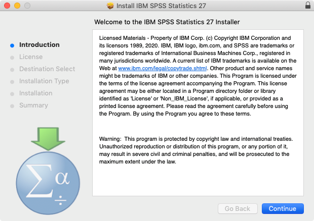 Welcome to the IBM SPSS Statistics 27 Installer  Click 'Continue'