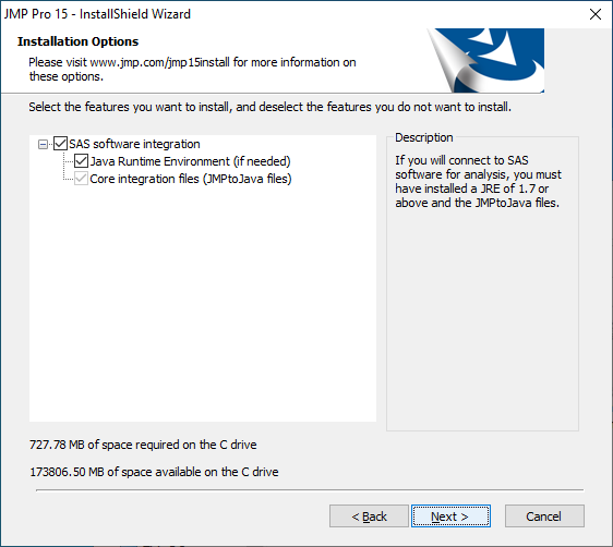 Installation Options to work with SAS software Click 'Next'