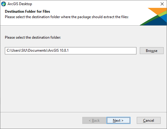 Select the destination folder for the installation