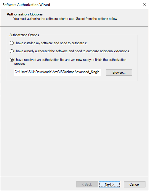 Select 'I have received an authorization file and am now ready to finish the authorization process' and click 'Browse' and select the license file.