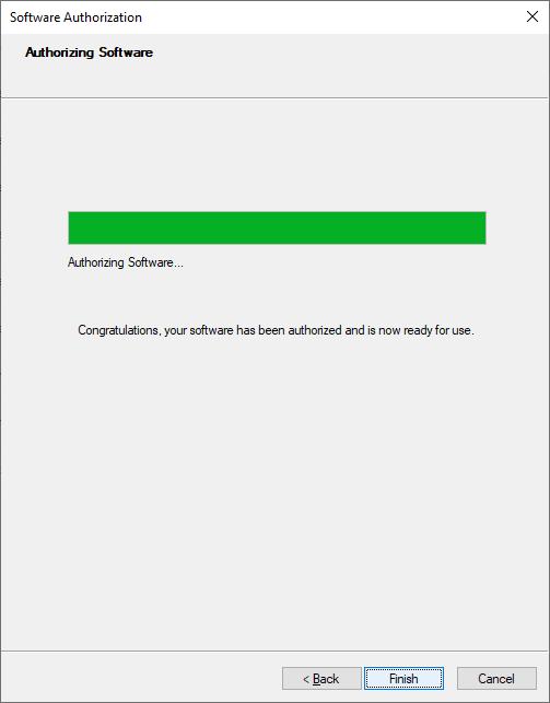 Authorizing Software Click 'Finish'