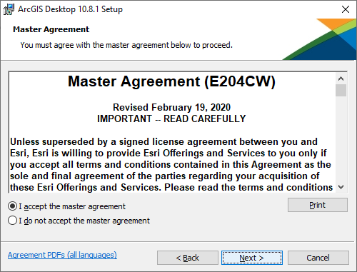 "Master Agreement. Select ""I accept the master agreement"" and click ""Next"""