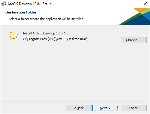 "Destination Folder. Click ""Next"""