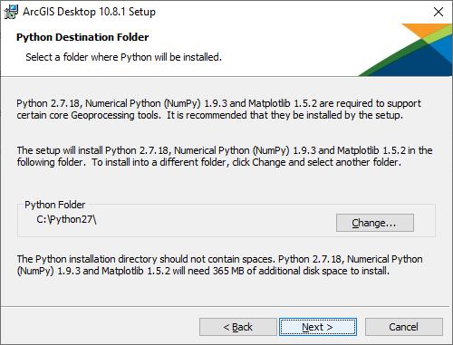 """Python Destination Folder. Click """"Next"""""""