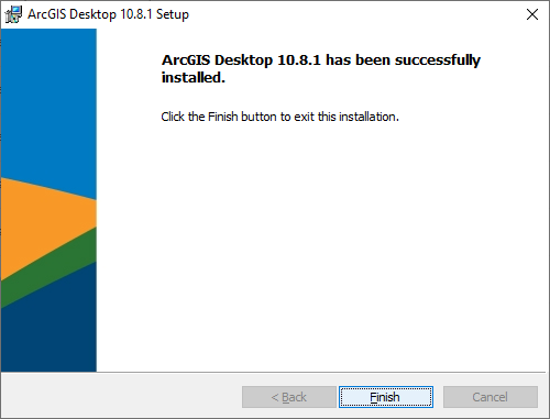 ArcGIS Desktop 10.8.1 has been successfully installed. Click 'Finish'