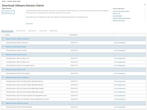 VM Hoizon download list