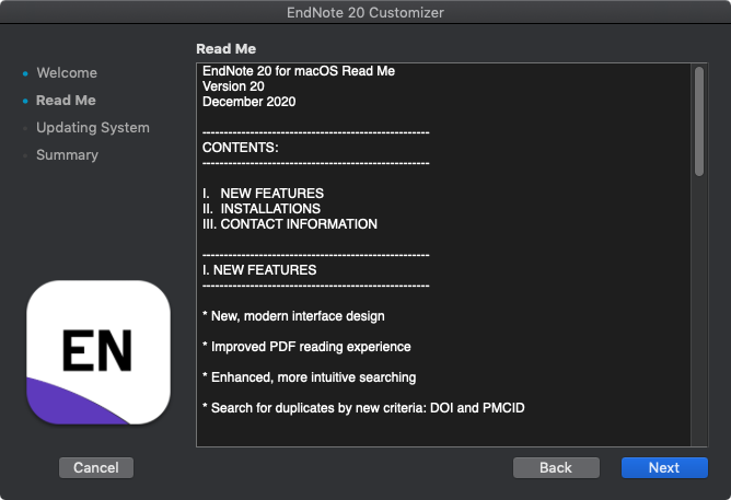 EndNote 20 for Mac - Read Me