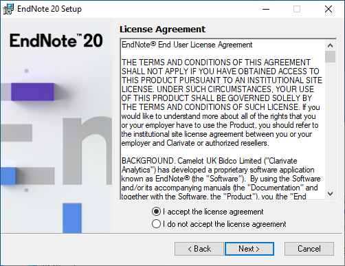 EndNote 20 for Windows - License Agreement