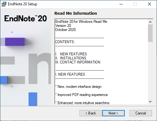 EndNote 20 for Windows - Read Me