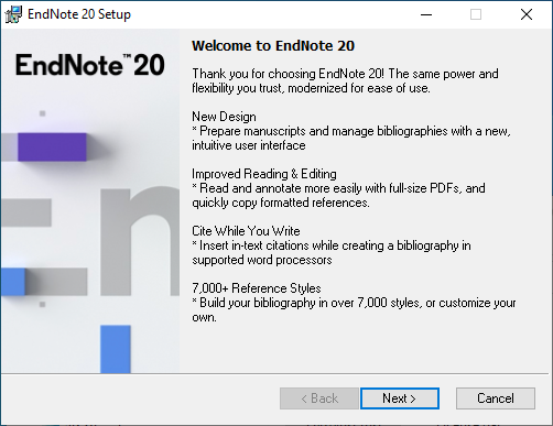 EndNote 20 for Windows - Welcome