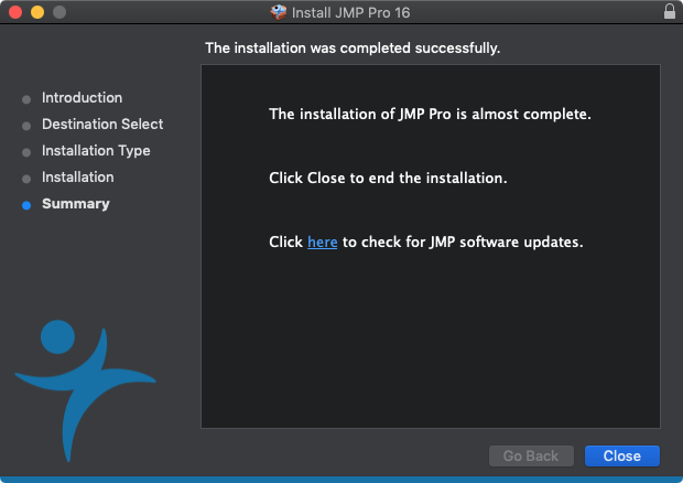 JMP Pro 16 for Mac - Installation Completed