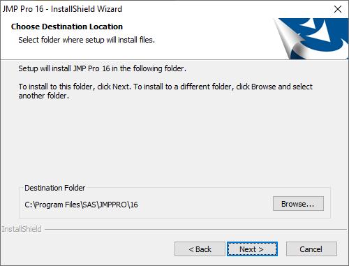 JMP Pro 16 for Windows - Destination
