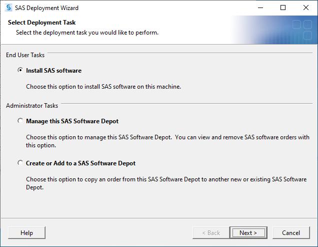 SAS 9.4M7 for Windows - Select Deployment Task