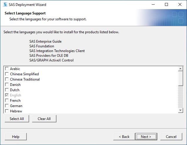 SAS 9.4M7 for Windows - Select Language Support