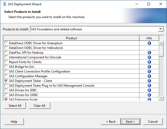 SAS 9.4M7 for Windows - Select Products to Install