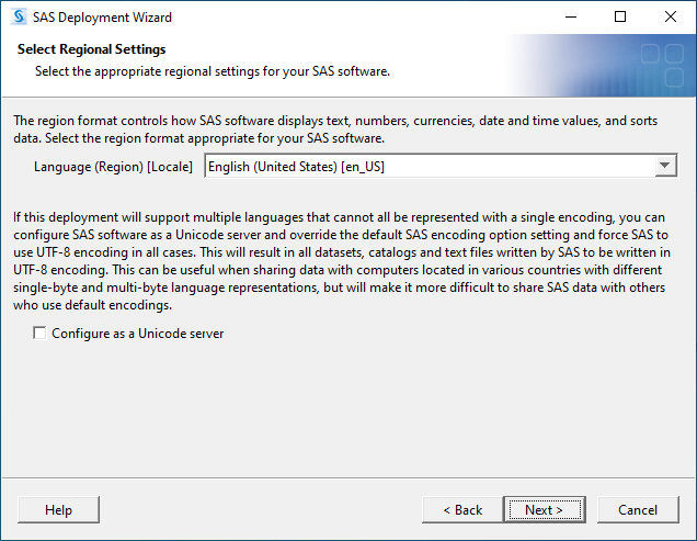 SAS 9.4M7 for Windows - Select Regional Settings