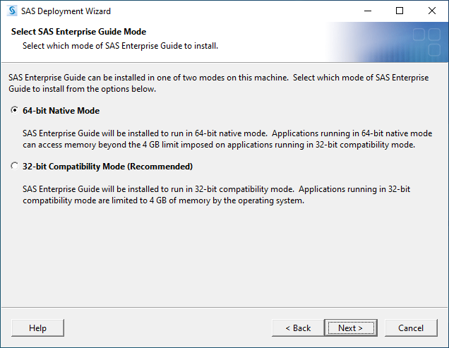 SAS 9.4M7 for Windows - Select SAS Enterprise Guide Mode