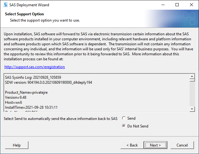SAS 9.4M7 for Windows - Select Support Option