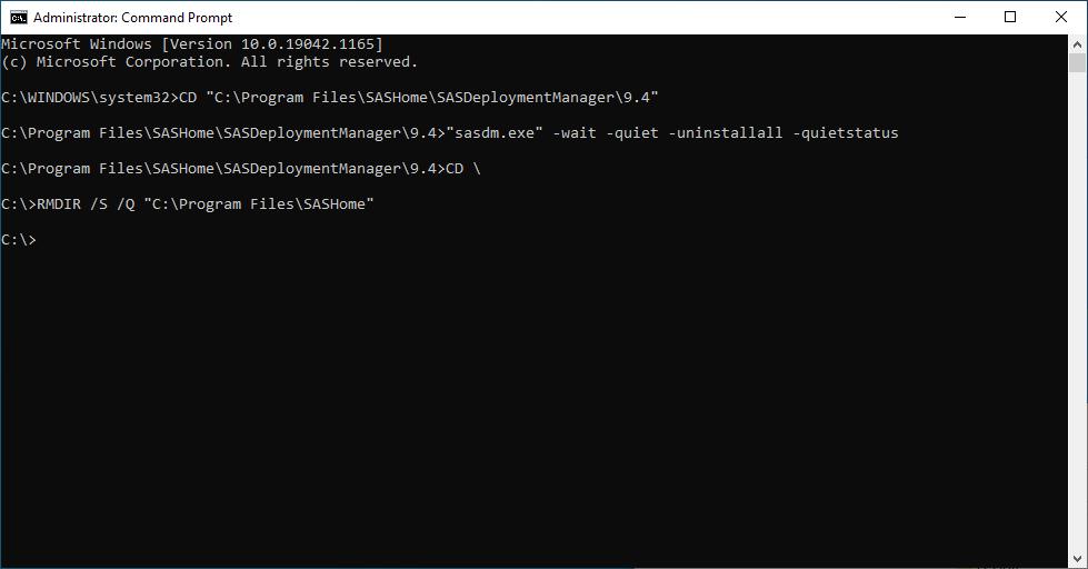 SAS 9.4M7 for Windows - Uninstall All