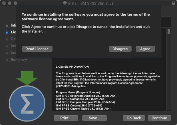 SPSS Statistics 28 for Mac - Software License Agreement Acceptance