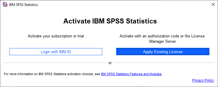 SPSS Statistics 28 for Windows - Apply Existing License