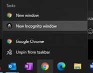 Incognito menu of google chrome